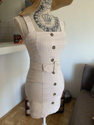 Stretch-MiniKleid - Größe XS 34 - Gestreift - Beige/Offwhite - Sexy!