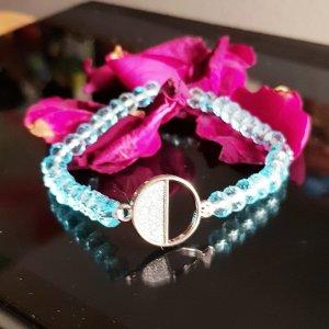 Bracelet en perles argenté-bleu clair