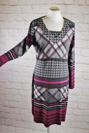 Stretch Shirtkleid Midikleid Kleid Laura Kent Größe L 42 Grau Rot Weiß Schwarz Muster Karo Langarmkleid