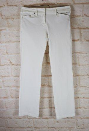 Stretch Sommerhose Hose Marc Cain Größe N 3 / S 36 Weiß Offwhite Streifen Straight Cord