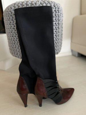 Heel Boots bordeaux-black leather