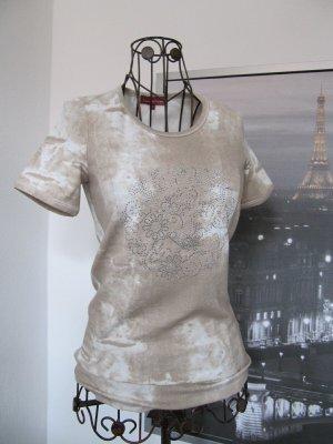 Stretch T-Shirt Batik Stil mit Straßsteinchen beige Gr. S