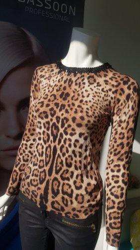 stretchhose lederoptik skinny gewachst Animalprint pullover Hallhuber small