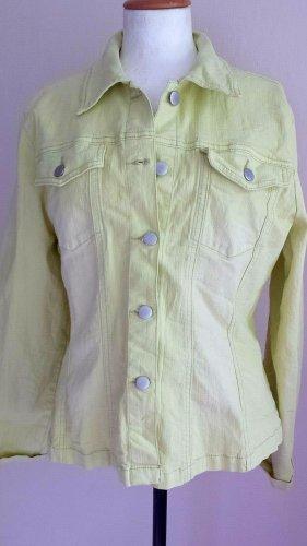 On Parle De Vous Denim Jacket pale green-primrose cotton