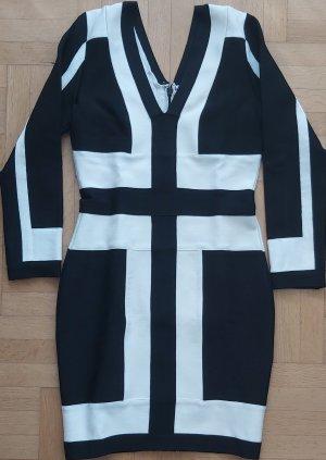Stretch jurk wit-zwart Viscose