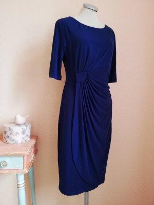 Stretchkleid Midikleid Kleid knielang blau Gr. UK 10 EUR 38 S M wickeloptik elegant