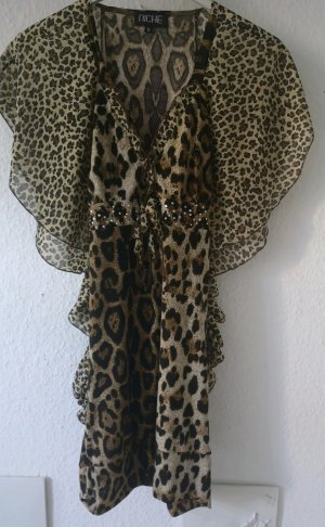 Stretchkleid Minikleid Animalprint Chiffon Strass Glitzer elegant