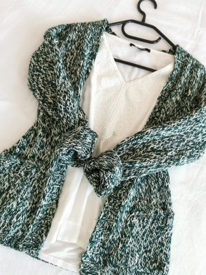 Strick Cardigan Jacke Grün Weiß meliert