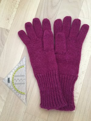 H&M Divided Gloves magenta mixture fibre