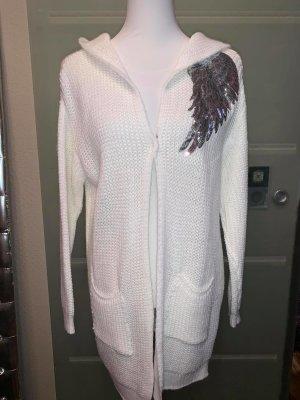 Veste tricotée en grosses mailles blanc laine