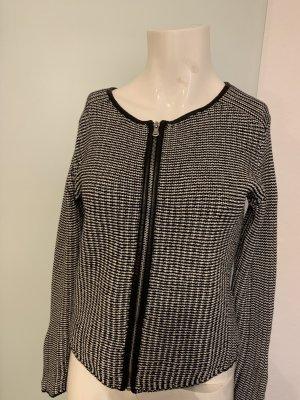 Strick Jacke mit Reißverschluss Gr 36 S schwarz-weiß