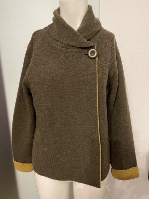 Chiaramente Knitted Coat sand brown-dark green
