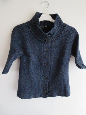 Mexx Short Sleeve Knitted Jacket dark blue wool
