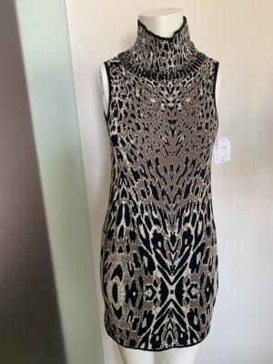 Strick Kleid mit Verzierung von Roccobarocco Gr 34 36 XS Wolle Leoparden Muster