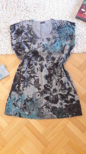 Strick Kleid oversize locker Blumen Kurzarm