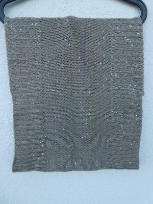 Strick-Loop-Schal mit Pailletten, grau-braun – Gebraucht, jedoch wie neu