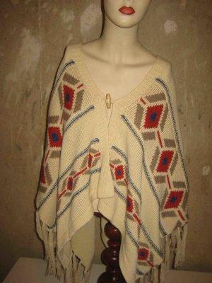 QED London Poncho en tricot multicolore acrylique