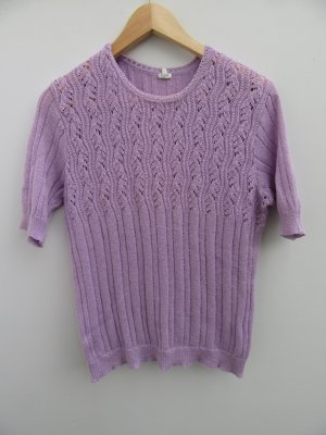 Strick Pulli lila T-Shirt Vintage Retro Gr. M