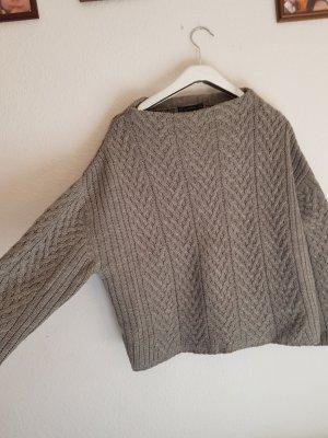 Zara Knit Pull torsadé gris clair