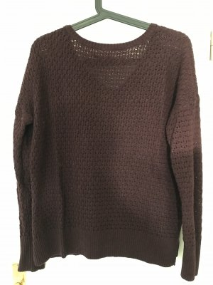 American Eagle Outfitters Pull à gosses mailles bordeau-brun rouge