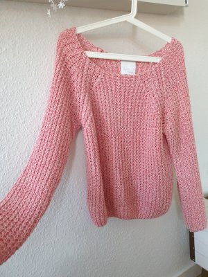 Aygill's Coarse Knitted Sweater white-bright red cotton
