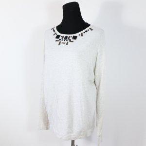 Strick Pullover beige grau Esprit Strass