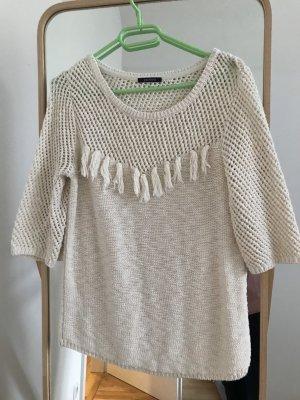 Promod Sweter z krótkim rękawem kremowy
