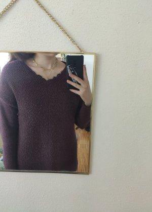 Strick-Pullover mit Spitzendetails