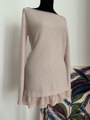 Maglione lungo rosa pallido