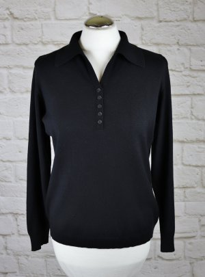 Strick Pullover Polo Kragen golle`haug Größe 40 42 Schwarz Jumper Feinstrick Strick V-Neck Pulli Knopfleiste Klassisch Basic
