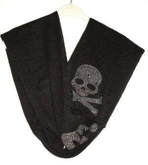 Strick Schal Loop  mit skull totenkopf Steinchen silbern mega lang schwarz