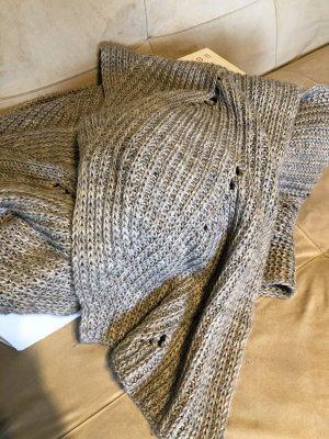 Esprit Bufanda de punto gris claro-marrón grisáceo