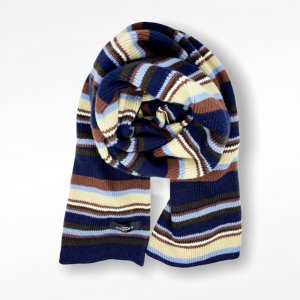 Engbers Knitted Scarf pale yellow-dark blue