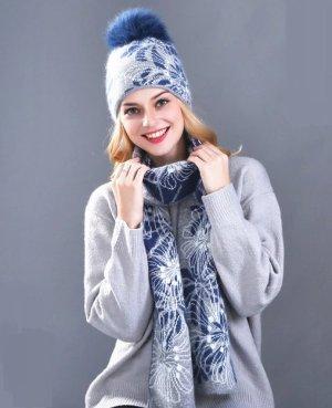 Strick Set 2 tlg- Mütze & Schal in grau blau Blumen Angora Anteil