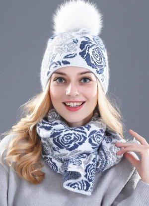 Strick Set 2 tlg- Mütze & Schal in  weiß blau Blumen Angora Anteil