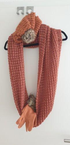 Six Knitted Scarf dark orange-russet