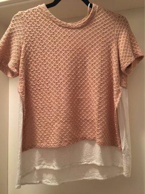 Zara Gehaakt shirt roségoud-wit