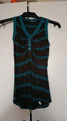 Strick Shirt/ Bluse, Raffung, gestreift, türkis, braun