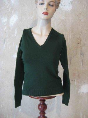 Strick-Shirt von Zara in Tannengrün, V-Ausschnitt - casual Look