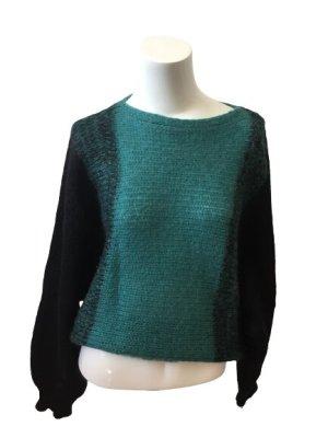 Strick Sweater Schwarz Petrol- 44