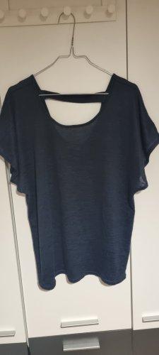 Camisa tejida azul-azul oscuro
