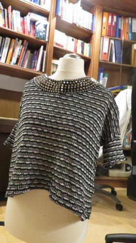 Strick T-Shirt mit nietenbesetztem Kragen
