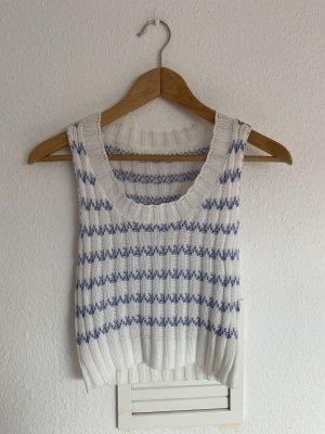 Vintage Cropped top wit-lichtblauw
