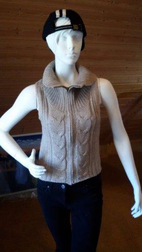 Gilet tricoté gris brun-beige