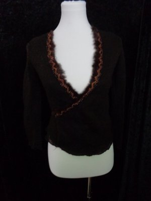 markenlos Knitted Wrap Cardigan dark brown mohair