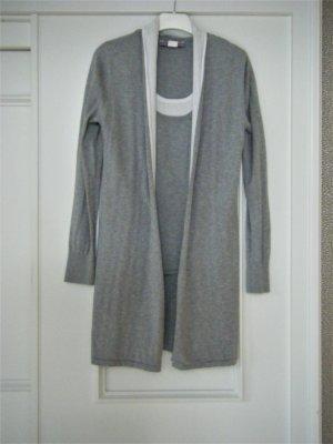 Ashley Brooke Veste en tricot argenté-blanc coton