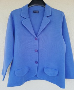Peter Hahn Knitted Blazer azure-cornflower blue cotton
