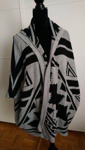 Strickcardigan mit Kapuze, grau/schwarz