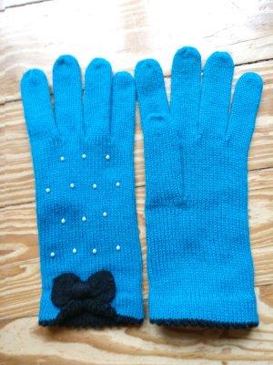 Gants en tricot turquoise coton