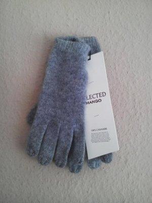 Mango Gebreide handschoenen grijs Kasjmier